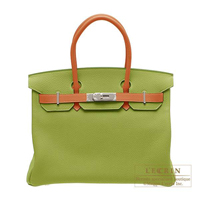 Hermes Personal Birkin bag 30 Anis green/Potiron orange Togo leather Silver hardware