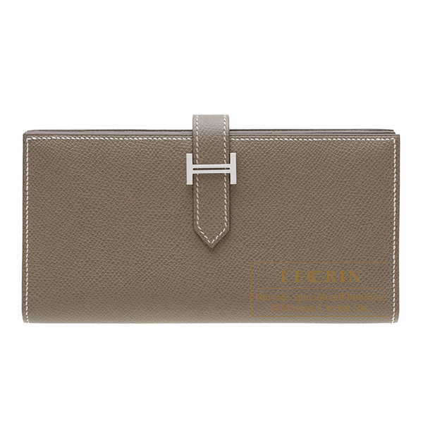 Hermes Bearn Soufflet Etoupe grey Epsom leather Silver hardware