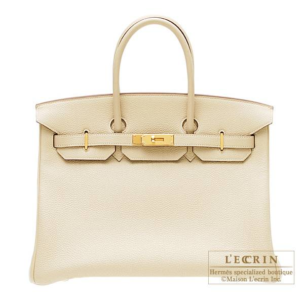 Hermes Birkin bag 35 Parchemin Togo leather Gold hardware