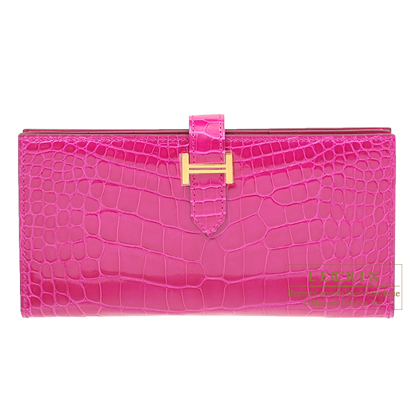 Hermes Bearn Soufflet Rose scheherazade Alligator crocodile skin Gold hardware