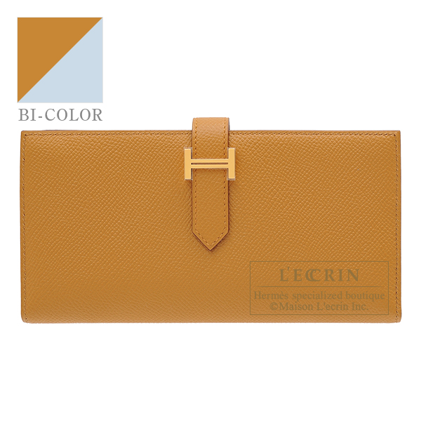 Hermes Bearn Soufflet Verso Sesame/ Blue brume Epsom leather Gold hardware