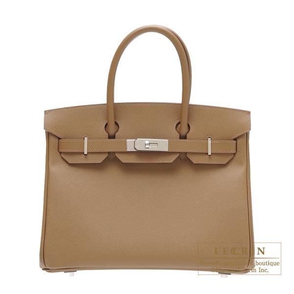 Hermes Birkin Bag 30 Alezan Epsom Leather Silver Hardware