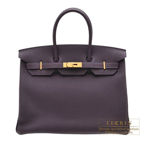 Hermes Birkin bag 35 Raisin Togo leather Gold hardware