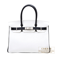Hermes Personal Birkin bag 30 White/Black Clemence leather Silver hardware
