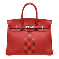 Hermes Birkin Tressage De Cuir bag 35 Rouge piment/ Rouge coeur/ Rouge H Swift leather/ Epsom leather Silver hardware
