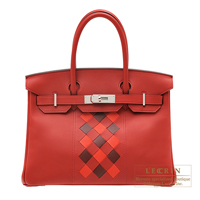 Hermes Birkin Tressage De Cuir bag 30 Rouge piment/ Rouge coeur/ Rouge H Swift leather/ Epsom leather Silver hardware
