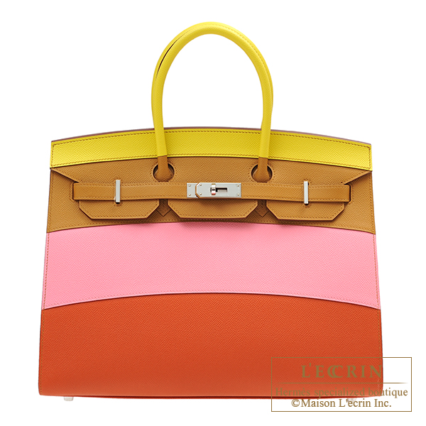 Hermes Birkin Rainbow bag 35 Lime/Sesame/Rose confetti/Terre battue Epsom leather Silver hardware