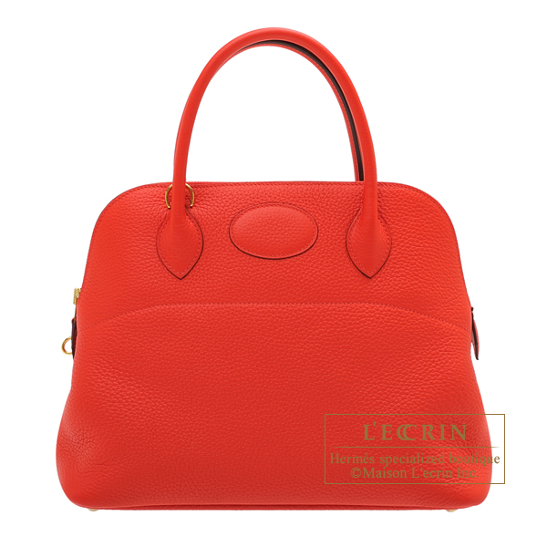 Hermes Bolide bag 31 Rouge coeur Clemence leather Gold hardware