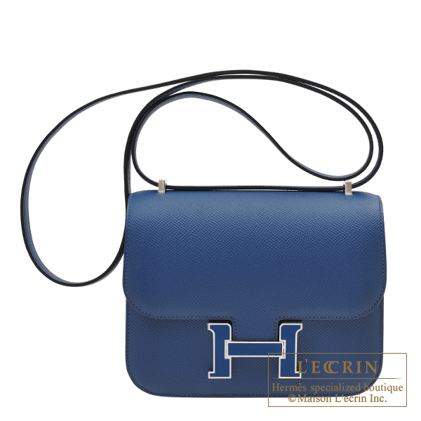 Hermes Constance mini Deep blue Epsom leather Silver hardware