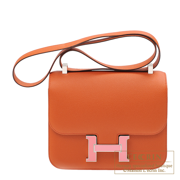 Hermes Constance 24 Terre battue/ Rose confetti Epsom leather Silver hardware