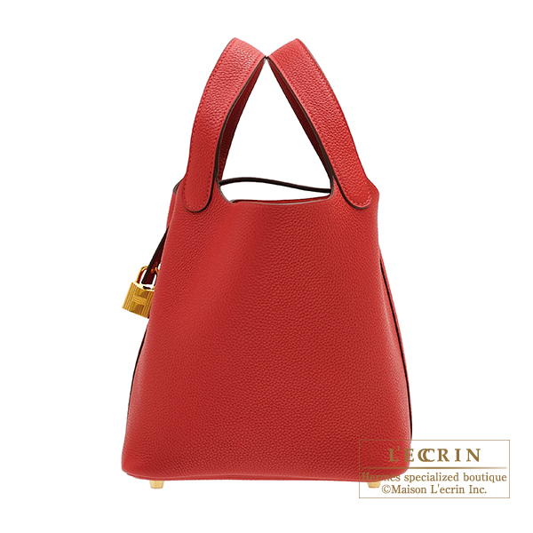 Hermes Picotin Lock bag PM Rouge piment Maurice leather Gold hardware